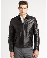 Ferragamo Leather Jacket - Lyst