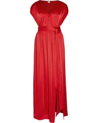 Halston Heritage Belted Stretch Satin jersey Maxi Dress - Lyst