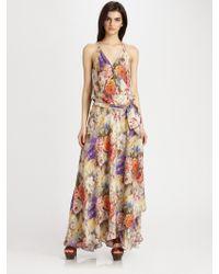 Haute Hippie Floralprint Silk Maxi Dress - Lyst