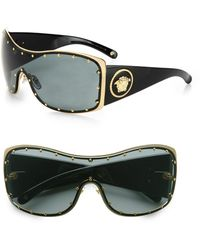 Versace Rock Icon Medusa Studded Shield Sunglasses - Lyst