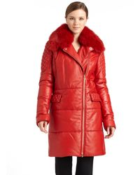 Versace | Fox Furcollared Leather Puffer Coat | Lyst