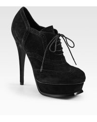 Saint Laurent Tribute Richel Suede Laceup Ankle Boots - Lyst