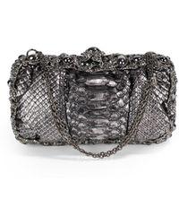Clara Kasavina - Swarovski Crystal Metallic Black Python Clutch - Lyst
