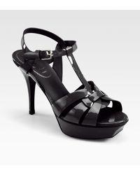 Saint Laurent Patent Leather Tstrap Slingback Sandals - Lyst