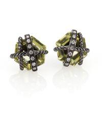 David Yurman - Lemon Citrine Diamonds Sterling Silver Stud Earrings - Lyst