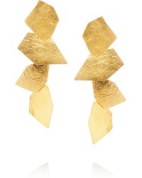 Herve Van Der Straeten Cailloux Hammered Goldplated Clip Earrings - Lyst