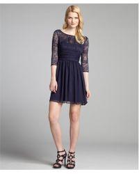 Max & Cleo - Navy Lace and Chiffon Three Quarter Sleeve Jasmie Dress - Lyst