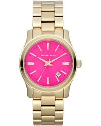 Michael Kors Midsize Golden Stainless Steel Pinkface Threehand Watch - Lyst