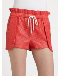 Rebecca Minkoff Mika Perforated Leather Shorts - Lyst