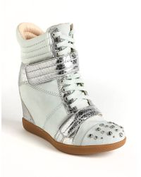Boutique 9 Nevan Leather Wedge Sneakers green - Lyst
