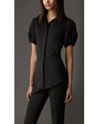 Burberry Puff Sleeve Stretch Silk Shirt - Lyst