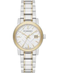 Burberry Ladies Two-Tone Bracelet Band Watch silver - Lyst