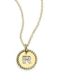 David Yurman 18k Gold Initial Pendant Necklacer - Lyst
