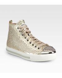 Miu Miu Studded Metallic Leather Sneakers - Lyst