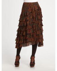 Ralph Lauren Blue Label Asymmetrical Tiered Silk Skirt - Lyst