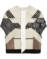 Rick Owens Cutout Leather Jacket - Lyst
