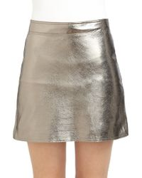 Robert Rodriguez Metallic Leather Mini Skirt - Lyst