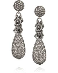Irit Design - Oxidized Sterling Silver Diamond Earrings - Lyst