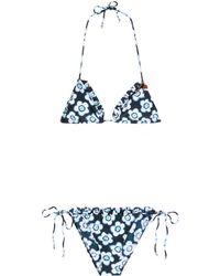 Miu Miu - Print Ruched Bikini - Lyst