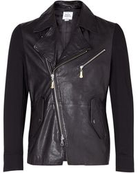 Vivienne Westwood Black Leather and Jersey Biker Jacket - Lyst