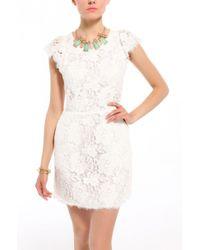 Akira Black Label Open Back Lace Cap Sleeve Dress in White - Lyst