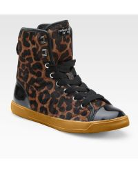 MICHAEL Michael Kors City Leopardprint Haircalf Patent Leather Hightop Sneakers - Lyst