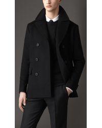 Burberry Virgin Wool Cashmere Pea Coat - Lyst