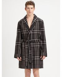 Burberry Black Check Robe - Lyst