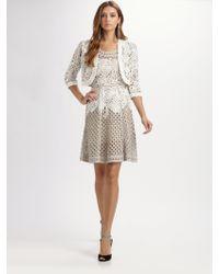 Oscar de la Renta Openweave Cotton Dress - Lyst