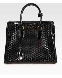 Alexander McQueen Heroine Medium Patent Leather Honeycomb Top Handle Bag - Lyst