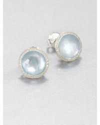 Ippolita Stella Swiss Blue Topaz, Mother-Of-Pearl, Diamond & Sterling Silver Doublet Stud Earrings - Lyst