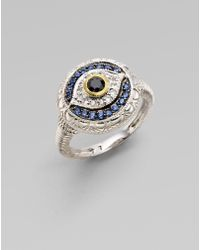 Judith Ripka Black White and Blue Sapphire Sterling Silver Evil Eye Ring - Lyst