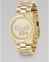 Michael Kors Runway Goldtone Stainless Steel Chronograph Bracelet Watch gold - Lyst