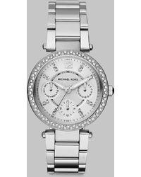 Michael Kors Swarovski Crystal Multi-Function Watch/Stainless Steel - Lyst