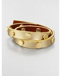 Tory Burch Logo-Studded Metallic Leather Double-Wrap Bracelet - Lyst