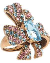 Oscar de la Renta Crystal Bow Ring gold - Lyst