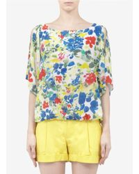 Alice + Olivia Printed Silk blend Top - Lyst