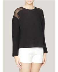 Edition10 - Textured Knit Sheer-back Pullover - Lyst