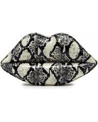 Lulu Guinness Black and White Snakeskin Lips Clutch - Lyst