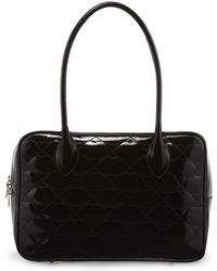 Lulu Guinness Black Quilted Lips Patent Leather Large Jenny - Lyst