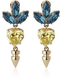 Mawi - Spike and Crystal Heart and Leaf Earrings - Lyst