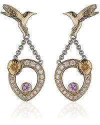 Theo Fennell - Pink Sapphire Hummingbird Tryst Earrings - Lyst