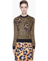 Kenzo Tan Knit and Beaded Tiger Sweater - Lyst