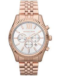 Michael Kors Oversize Rose Golden Stainless Steel Lexington Threehand Watch - Lyst