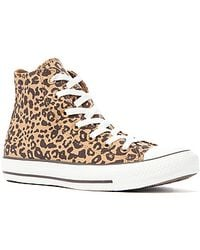 Converse The Chuck Taylor All Star Cheetah Print Hi Sneaker in Tan Black Coffee - Lyst