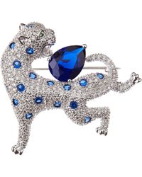 CZ by Kenneth Jay Lane Cz Panther Brooch - Metallic