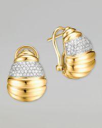 John Hardy Bedeg 18k Gold Diamond Pave Buddha Belly Earrings - Lyst
