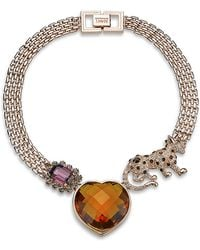 Mawi - Crystal Panther and Heart Necklace - Lyst