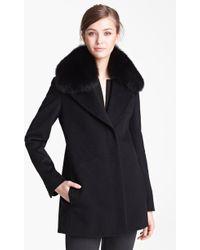 Max Mara Camels Hair Swing Coat with Genuine Fur Collar - Lyst