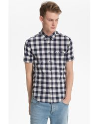 Topman Short Sleeve Gingham Shirt - Lyst